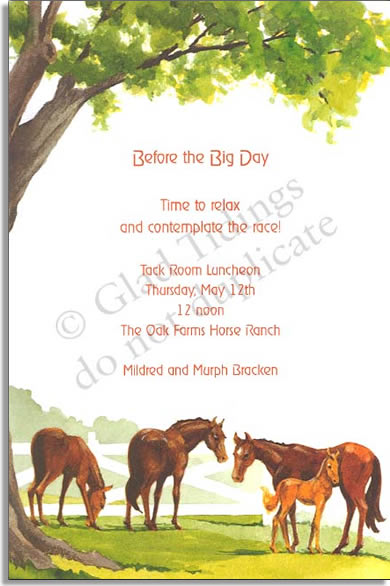 Grazing Horses - Premium quality cardstock includes coordinating envelope shown. Inkjet/laser compatible and available blank or personalized.